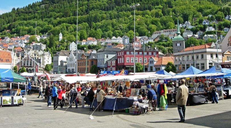Market stalls in Bergen, Norway