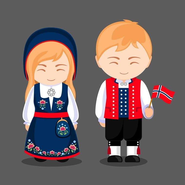 Norwegian national dress cartoon