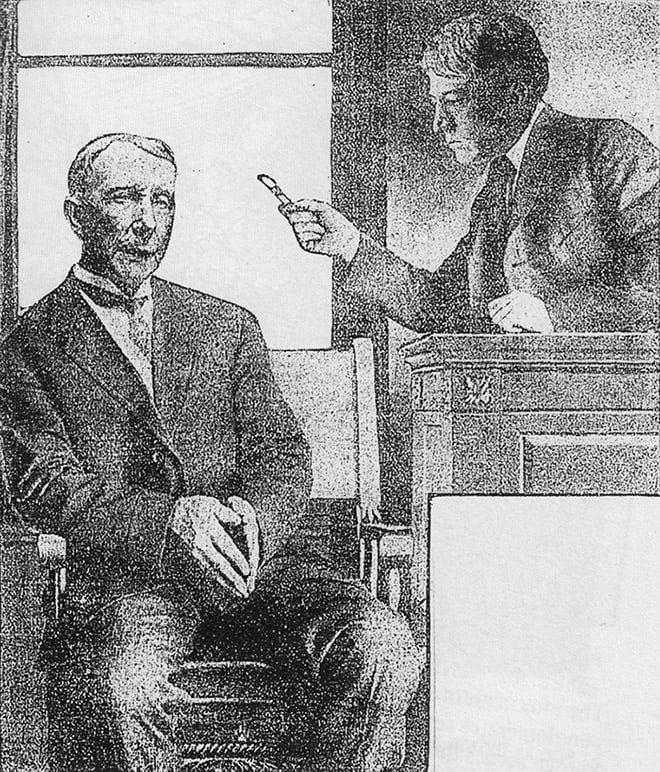 Rockefeller and Supreme Court Justice Kenesaw Mountain Landis during the Standard Oil Trial in 1907.