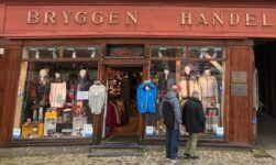 Shopping on Bryggen in Bergen, Norway