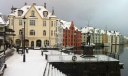 Snow-covered Ålesund town centre