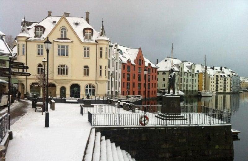 Snow-covered Ålesund town centre