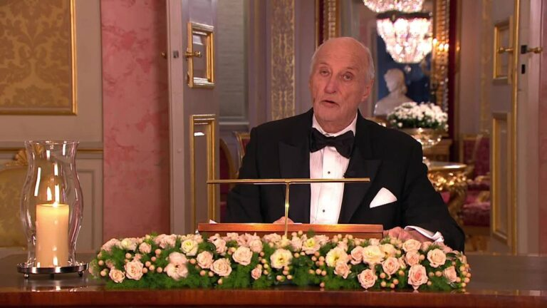 The King of Norway giving his New Year's Eve address to the nation