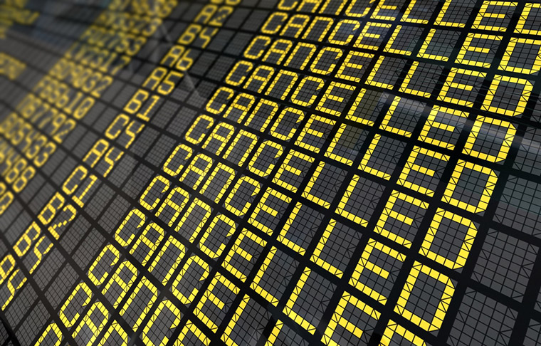 Cancelled departures at an airport