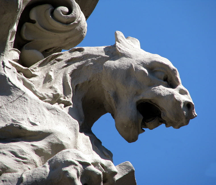 A close-up of a gargoyle on Trondheim's Nidaros Cathedral in Norway