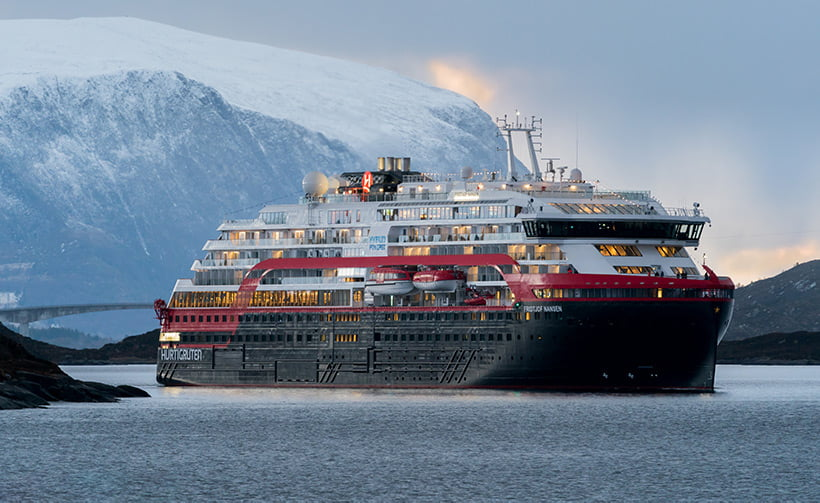 Hurtigruten ship in the Norwegian winter