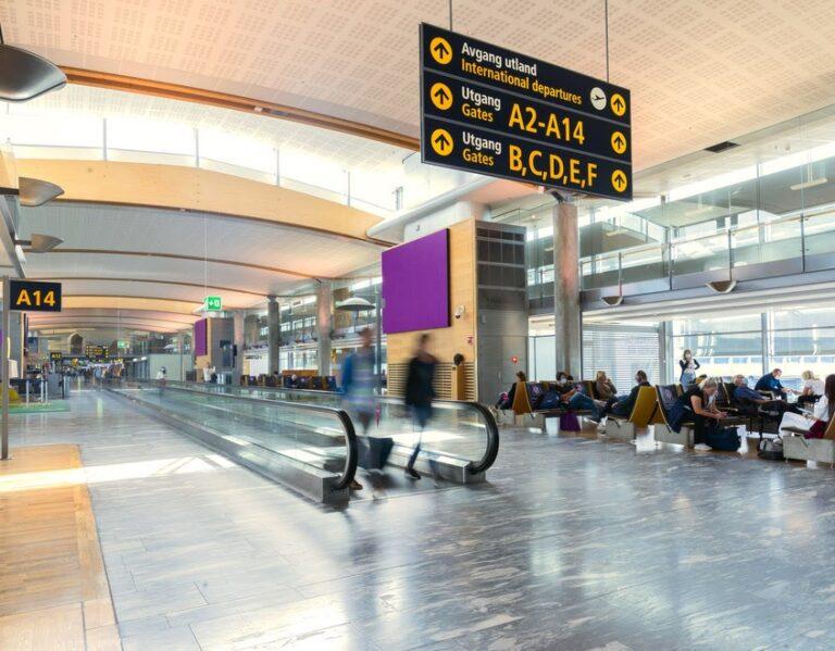 interior of oslo airport terminal