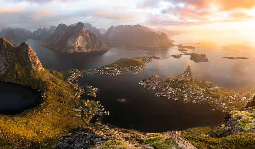 Norway's Lofoten Islands in the fall sunlight