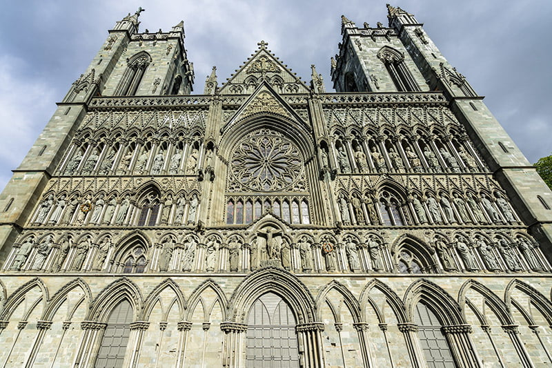 Detailed photo of the carvings on Nidaros Cathedral in Norway