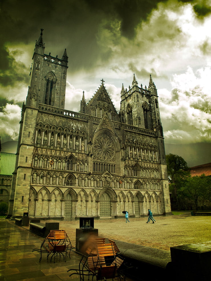 Nidaros Cathedral seen from the cafe