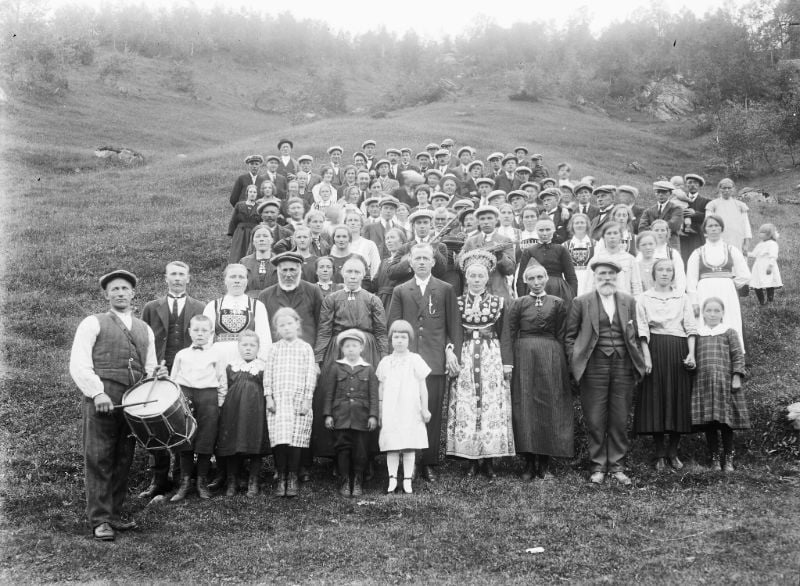 A historic Norway group photo featuring a drummer