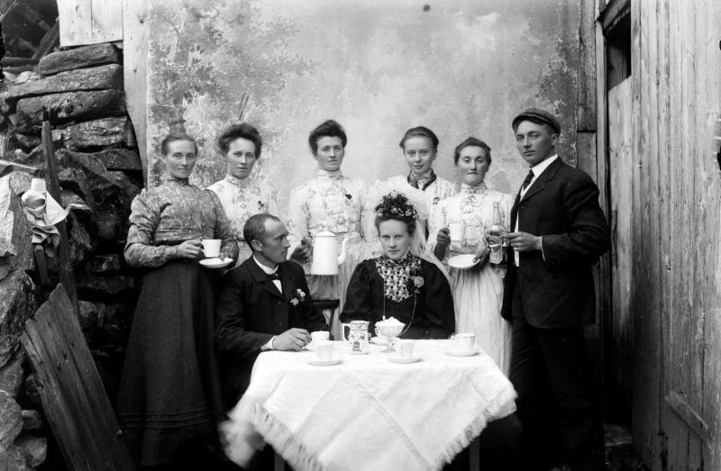 Old Norwegian wedding dinner in fjord Norway