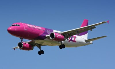 Purple Wizz Air airliner