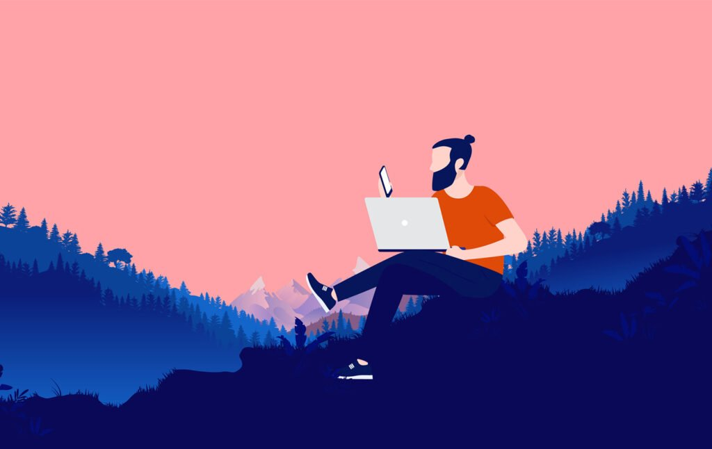 Remote worker in Norway with a laptop