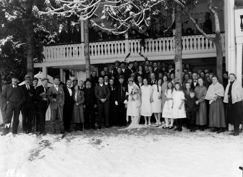 A historic photograph of a wedding group in fjord Norway