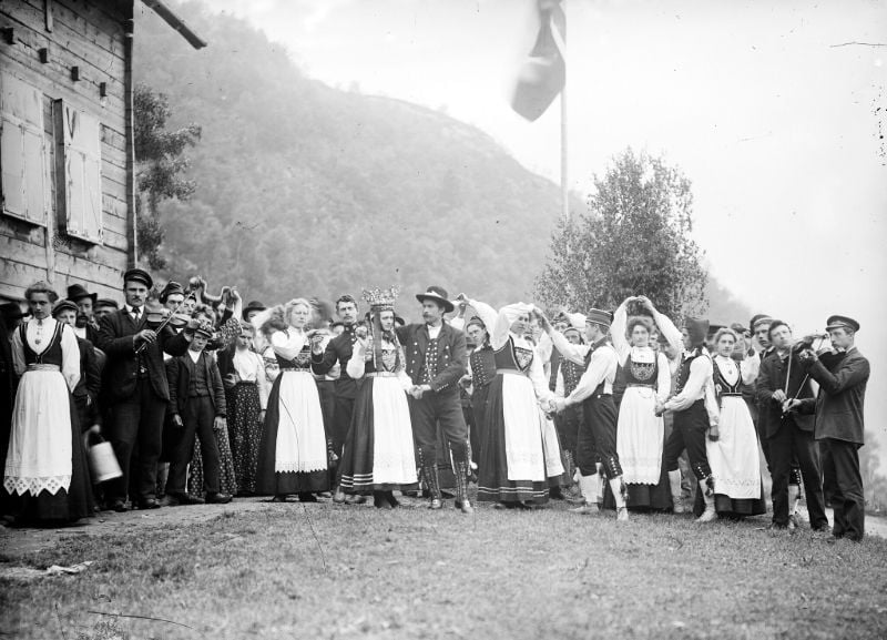 A wedding party in rural Norway
