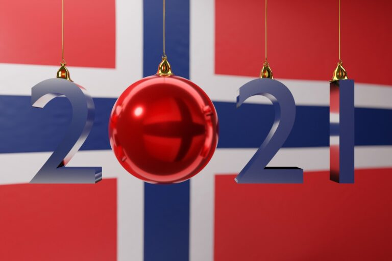 A New Year in Norway: 2021 over a Norwegian flag