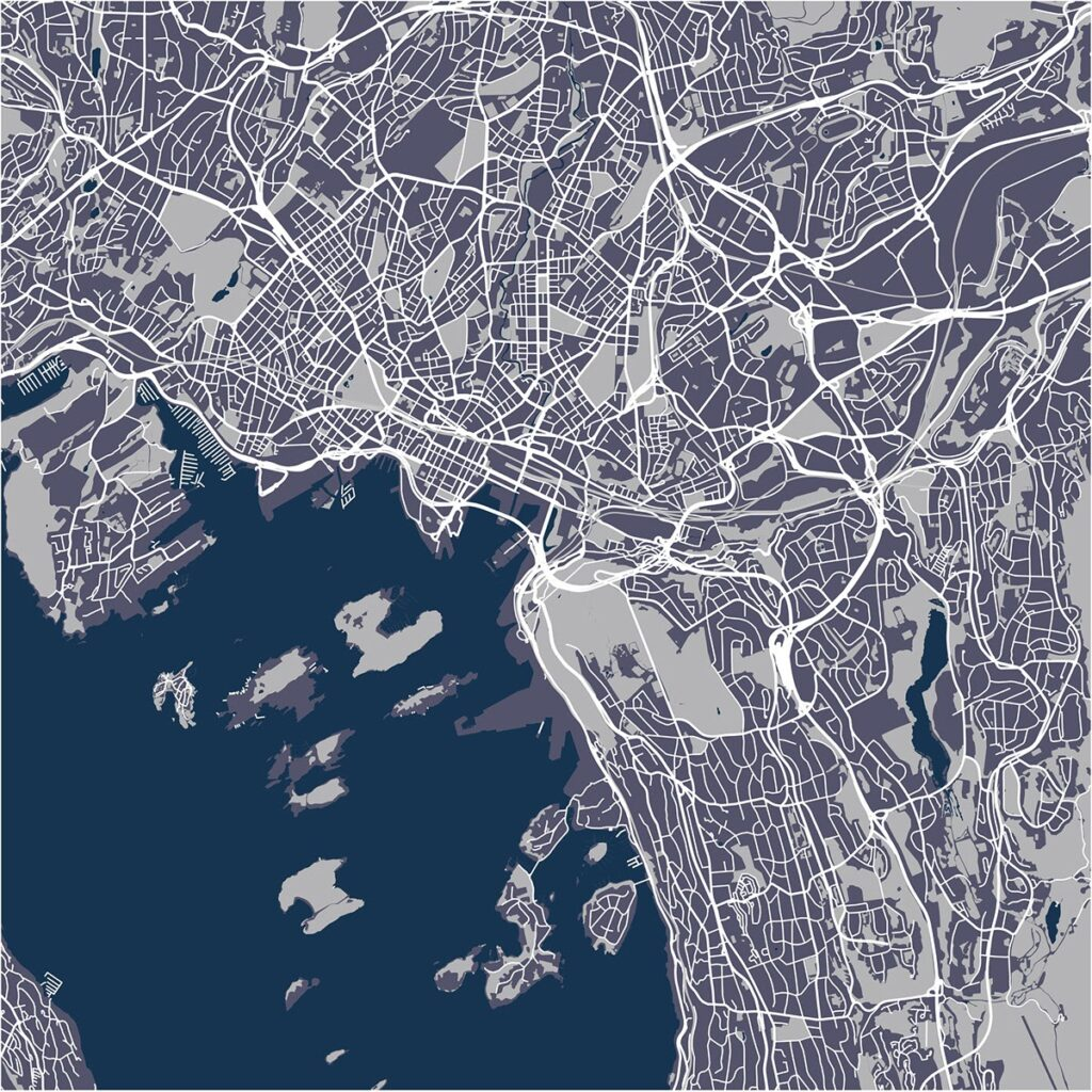 Aerial concept map of downtown Oslo