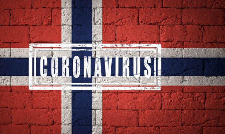 Coronavirus on a Norway flag