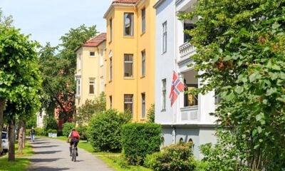 Cyclist in an Oslo suburb