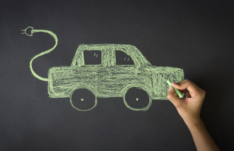 Electric car child's drawing in chalk
