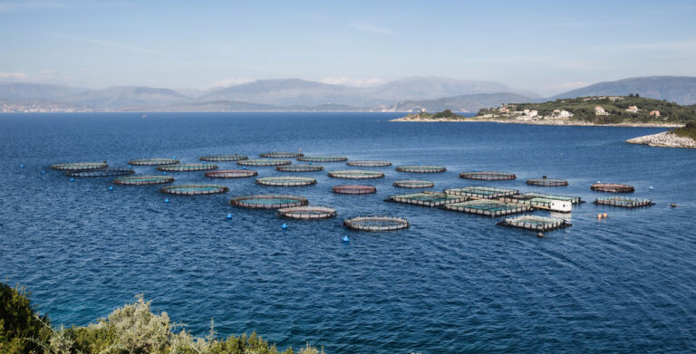 Fish farm off the coast of Norway