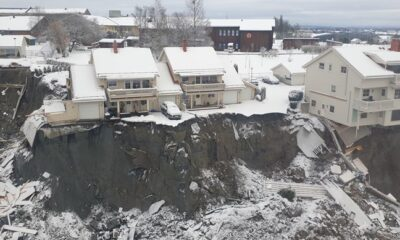 Collapsed houses in Norway landslide