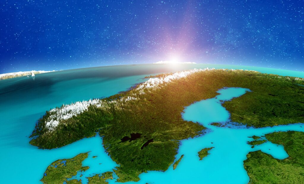 Illustration of Norway from space.