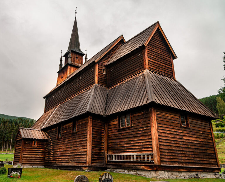 The exterior of Kaupanger stave church in Norway