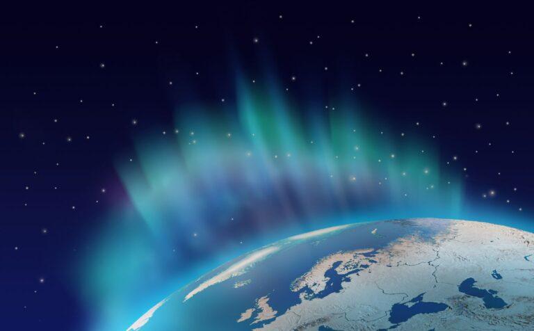 The northern lights over Scandinavia