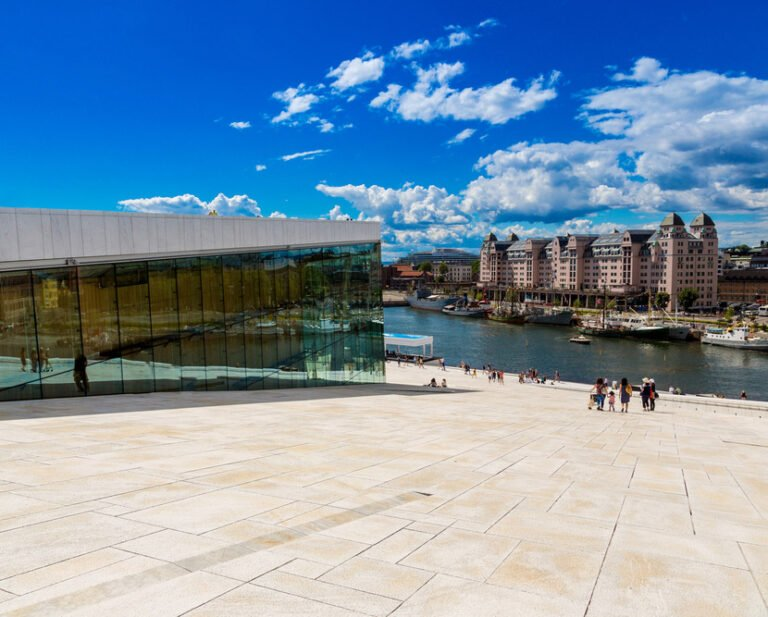 The sloping roof of Oslo Opera House, Norway
