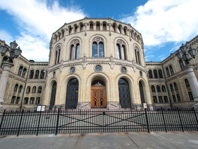 Outside the Oslo parliament building