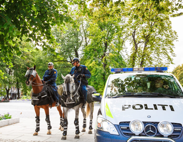 A police car and police horses in Oslo, Norway