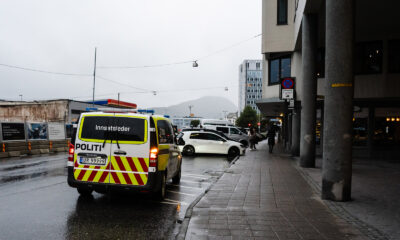 A police car attending an incident in Ålesund, Norway