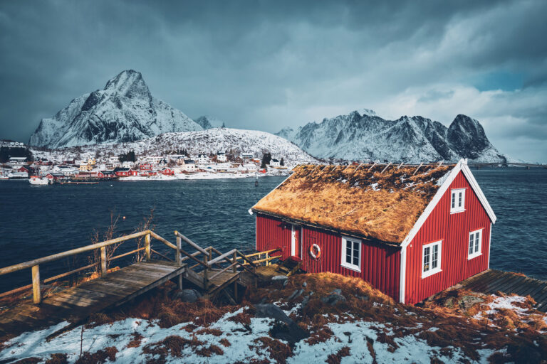 A small red house in Lofoten, Norway