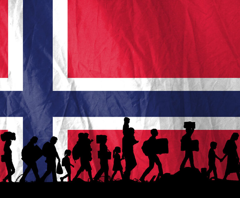 Refugees in Norway against a Norwegian flag.