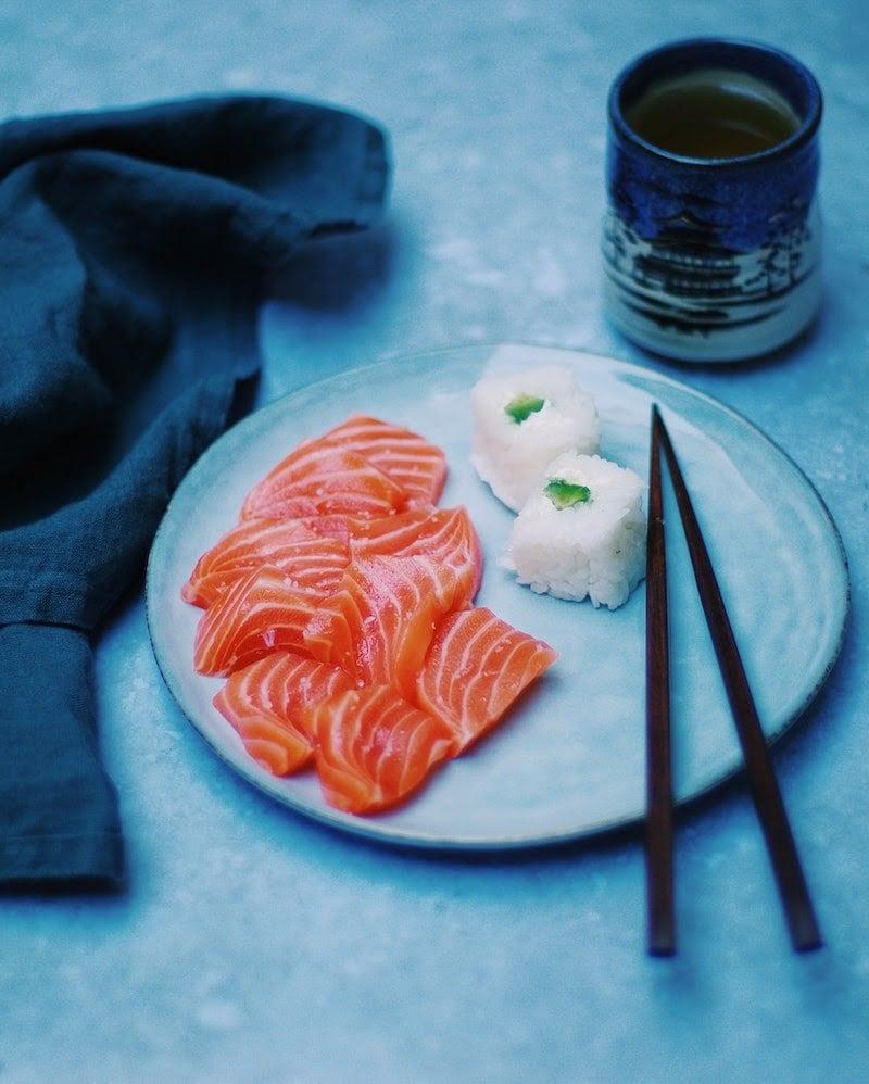Plate of sashimi, salmon sushi