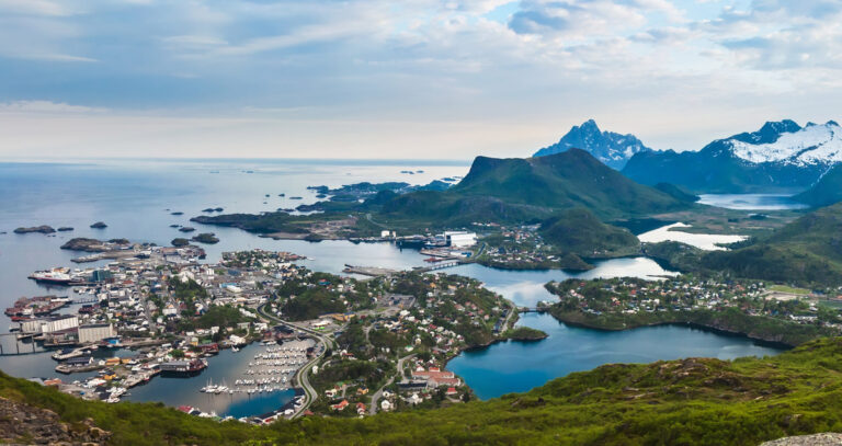A panoramic photo of Svolvaer, Lofoten
