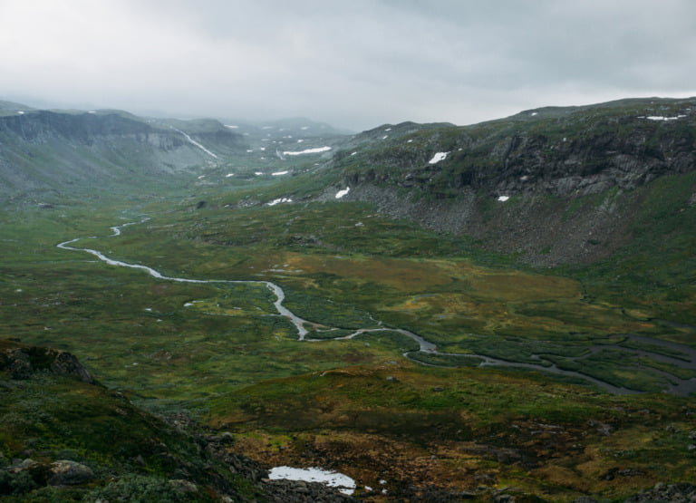 Panorama of the Hardangervidda mountain plateau in Norway