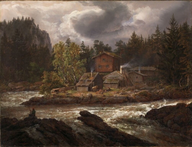 View of Hønefossen by Johan Christian Dahl, 1847.