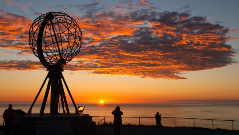 The North Cape monument marks the northernmost point of Norway