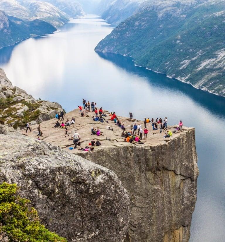 Norwegians gather on Preikestolen cliff in southwest Norway