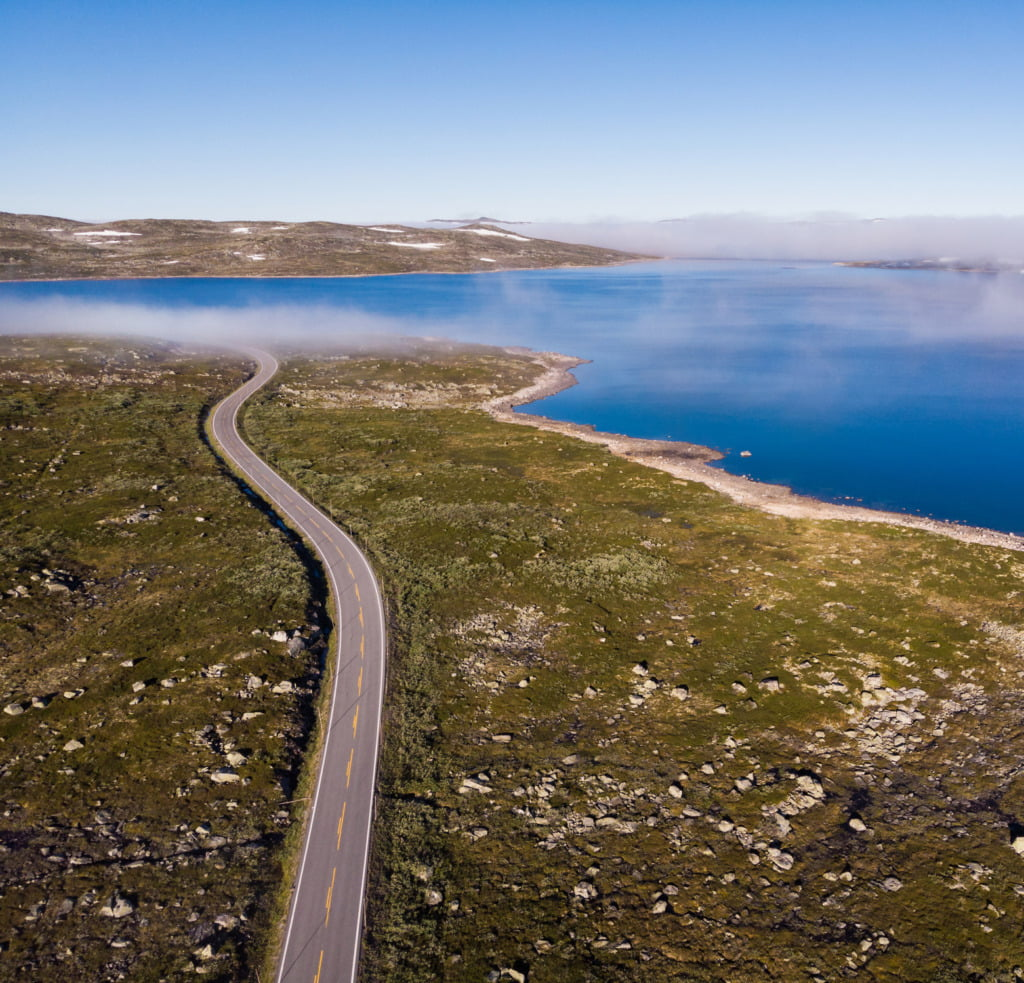 Norway's route 7 over Hardangervidda plateau
