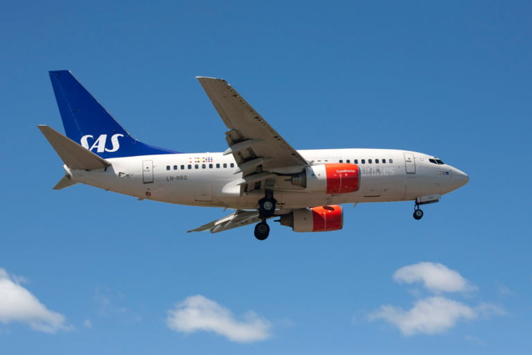 SAS airplane flying in Norway