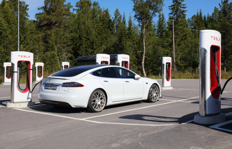 Tesla charging station at Hovden, Norway