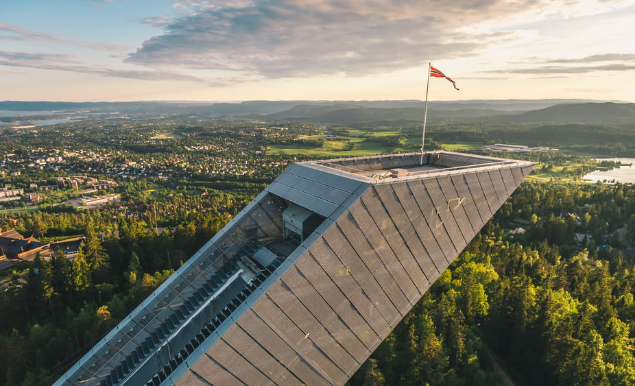 The top of Holmenkollen ski jump in Oslo, Norway
