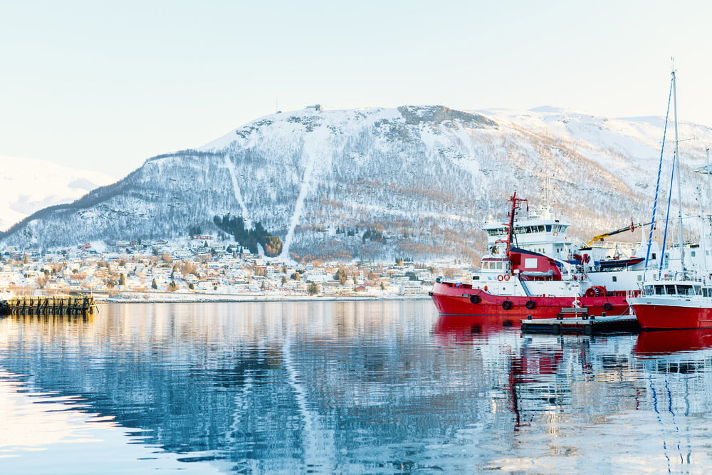 The harbour of Tromsø on a winter day.