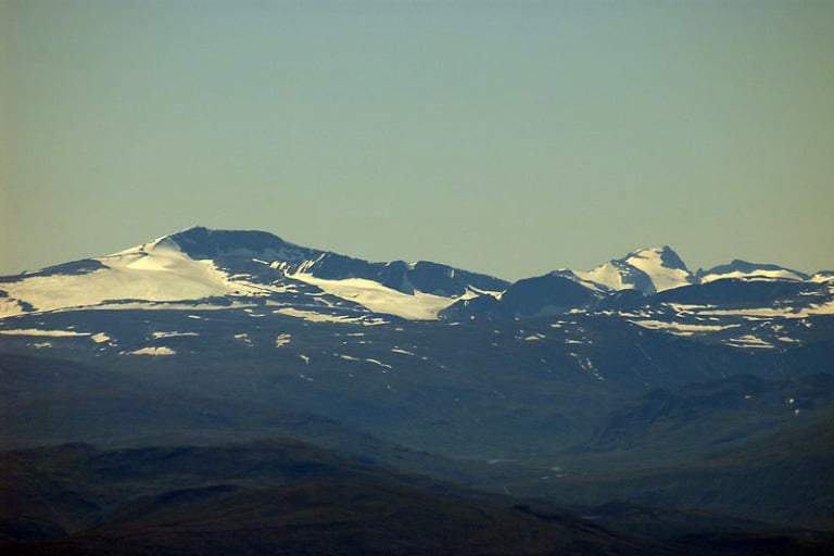 Norway's two highest mountains. The peaks of Glittertind and Galdhøpiggen seen from Rondane, Norway.