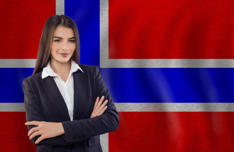 Norwegian language tutor with flag of Norway