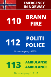 Emergency services in Norway: how to contact the fire service, police and ambulance.